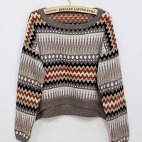 Coffee Retro Short Loose Bat Long Sleeved Sweater
