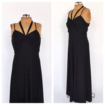 Vintage 1970s Black Maxi Dress Goddess Empire Waist Halter Dress Long Prom Gown Small Disco Sun dress 70s Boho SoCal Beach Dress