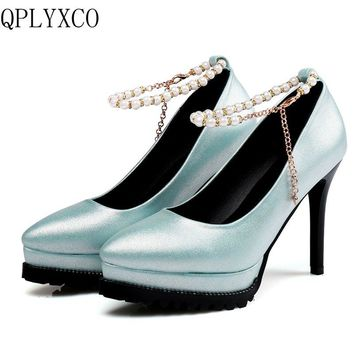 QPLYXCO 2017 New Sale Big size 32-48 Genuine Leather pumps shoes Women high hell Platform party wedding High quality shoes 577-6