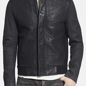Men's Rogue Faux Leather Varsity Jacket with Denim Sleeves,