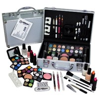 60 Piece Urban Beauty Travel Cosmetic Vanity Case Make Up Gift Set Train Box - Nails Eyes Lips Plus More