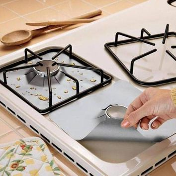 4Pcs/set Reusable Stovetop Burner Protector Liner Cover For Cleaning Kitchen  Foil Gas Range Stove Top  Cooking Tools