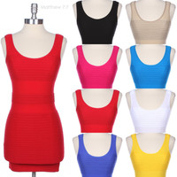 Seamless Sexy Ribbed Sleeveless Deep Back Razor Mini Party Dress Stretch Span