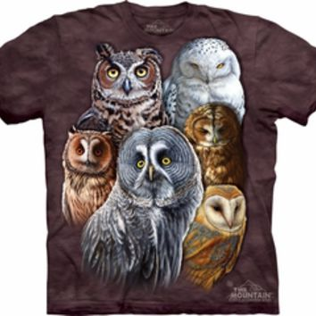 Owls Shirt Tie Dye Birds Collage T-shirt Adult Tee - Bird T-shirts