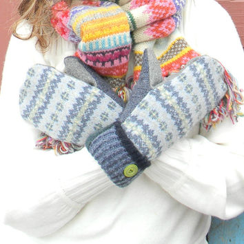 Blue Yellow Wool Mittens, Sweater Mittens, Recycled Mittens, Fleece Lined Fair Isle Sweaty Mitts Handmade Wisconsin Gray Blue
