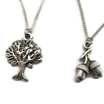 Oak Tree Necklace Set Best Friends Mother Daughter Jewelry Tree and Acorns Jewelry Sibling Jewelry Set Acorn Necklace Tree Necklace