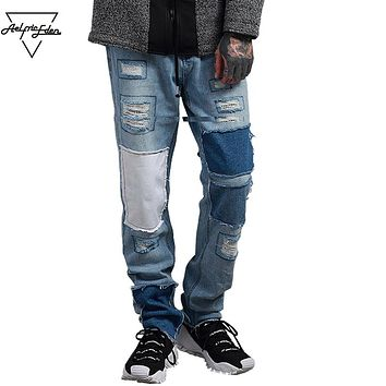 Jeans Denim Casual Pants Ripped Jeans for Men Winter Jeans Hip Hop Swag patchwork Streetwear