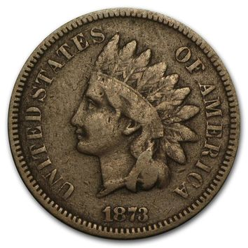 1873 Indian Head Cent Open 3 VG