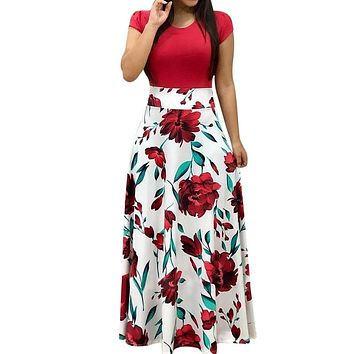 NIBESSER Women Floral Print Summer Long Maxi Dress 2019 Casual Short Sleeve Boho Beach Sexy Patchwork Party Dress Vestido Verano