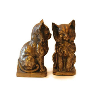 Vintage Brass Cat Bookends by FlumeStreet on Etsy