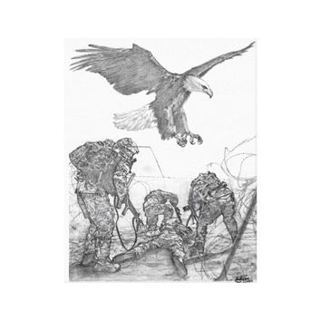 Eagle & Soldiers Canvas Print