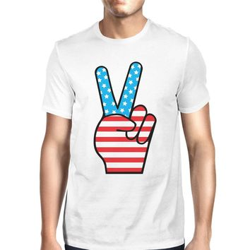 American Flag Unique Peace Sign Independence Day T Shirt For Men