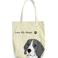 Beagle Extra Large Eco Friendly Reusable Cotton Canvas Tote Bag
