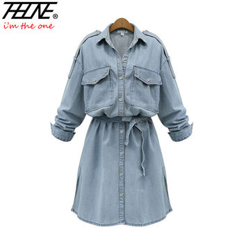 I'M THEONE Brand Plus Size Denim Dress Women Tunic Belt Long Sleeve Button Up Fashion Casual Cotton Summer Jeans Dress Shirt
