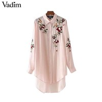 Women sweet floral embroidery long shirt long sleeve turn down collar loose blouse ladies asymmetrical tops