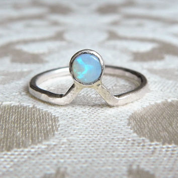 Pinfire Opal and Sterling Silver Chevron Ring - Genuine Opal Ring - Delicate Opal Ring - Boho Rings - Gift for Her - Girlfriend Gift