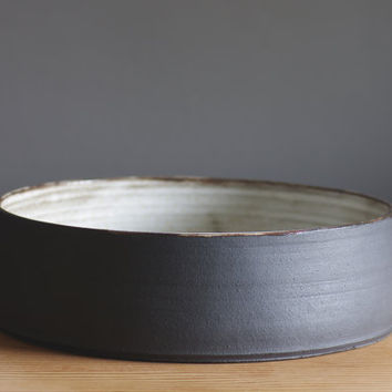 extra large bowl. fruit bowl made of black clay with white glaze, modern pottery minimal ceramic