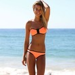 Sexy Orange Strapless Top Low Rise Bottom Bikini 2pcs Hot triangle Bikini