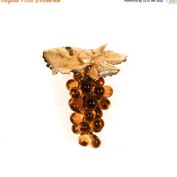 ON SALE Napier Golden Grapes Brooch, Amber Glass, Designer Jewelry