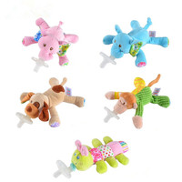 Lovely High-Quality Cartoon Cute Infant Baby Silicone Pacifiers with Plush Animal Non-ToxicTool Safe Baby Nipples Teat