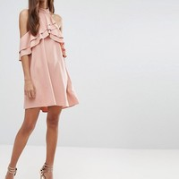 New Look High Neck Ruffle Mini Dress at asos.com