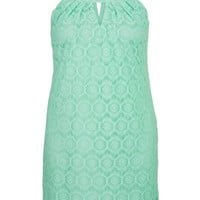 Plus Size - Lace Overlay Sheath Dress - Mint Creme