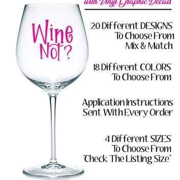 """Customize Your Wine Glasses with Vinyl Graphic Decals -  3.5""""W x 3.5""""H"""
