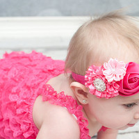 Hot pink Baby Headband Baby hair bow flower by BabyBloomzBoutique