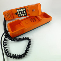 Vintage Orange Telephone Rotary Antique Soviet Model Telephone from 1980s,  Retro telephone