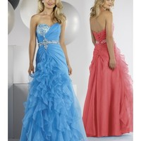 Beautiful Cheap Organza Sweetheart A-Line Party Dress With Cascading Ruffles LP80043