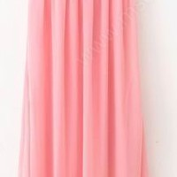 Pink V-neck Sleeveless Full Length Chiffon Dress - www.msdressy.com