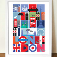 Travel Poster, London, mid century modern, souvenir poster, (A3) giclee print