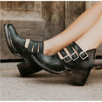 Square Middle Heel Zipper Chunky Heels Shoes
