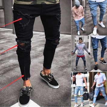 Thefound New Hole Jeans Men's Ripped Skinny Jeans Destroyed Frayed Slim Fit Casual Denim Pencil Pant Zipper Black&Blue S-2XL Hot
