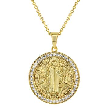 18k Gold Plated Clear CZ San Benito Saint Benedict Religious Medal Pendant 19""