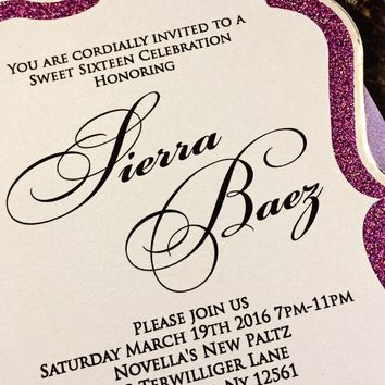 Modern Sweet 16 Invites - Purple Glitter and Silver Foil Sweet 16 Invitations - SIERRA VERSION