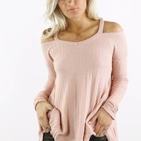 Forever And Always Pink Cold Shoulder Thermal Top
