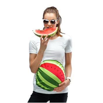 Summer funny t-shirt for women pregnent 3D print watermelon goldfish cartoon European Size Maternity Pregnancy Plus Size Top