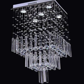Modern Luxury LED Crystal Chandelier with 25W 5 Lights in Square Shape Ceiling lamp Fixture 110-260V Restaurant pendant lamp