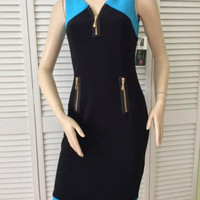 NEW Frank Lyman Sleeveless Black/Azure Blue Knit Dress (Size 2) - MSRP $185.00!
