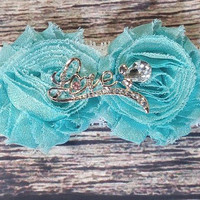 Beautiful Turquoise Rhinestone Love Shabby Lace Baby Girl Headband / Valentines Headband / Newborn Headband / Infant Headband / Bowtique