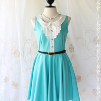 Vintage School Girl - School Girly Casual Dress Vintage Inspired Minty Blue Color With White Peter Pan Collar XS-S