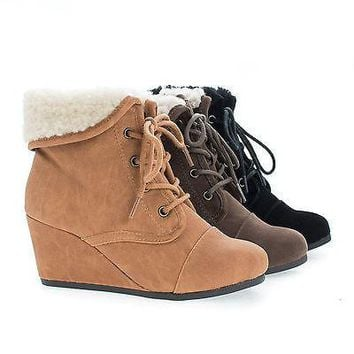 NastIIS Brown By Soda, Children Girls Lace Up Faux Shearling Cuff Wedge Ankle Booties