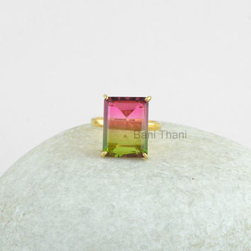 Silver Ring, Prong Set Ring, Watermelon Tourmaline Bi Doublet Quartz 12x16mm Gemstone Ring, Gold Plated Ring, 925 Silver Ring #1064