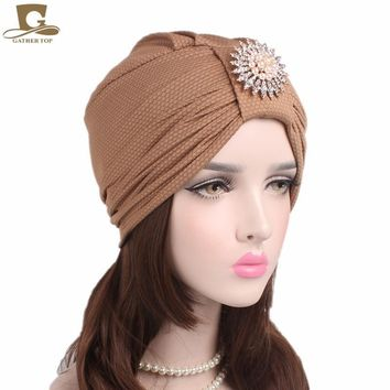 New women luxury knotted Turban with pearled metal brooch Indian cap chemo bandana Wrap cancer hat Cap Chemo Hair Loss cap