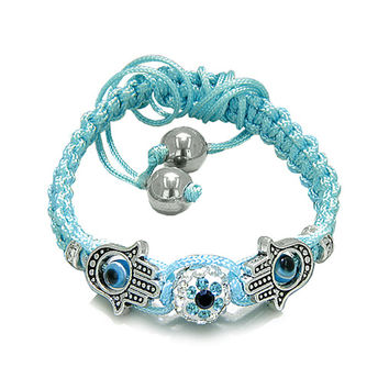 Evil Eye Protection Amulet Hamsa Hand Sky Blue Cord Bracelet Simulated-Hematite Beads