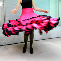 Authentic Vintage Spanish Flamenco Dancing Skirt in Hot Pink and Black with loads of Ruffles - Tiered Can Can Full Skirt - Halloween Costume