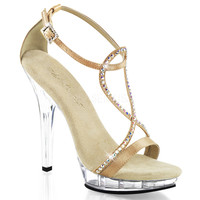 Champagne Open-Toe 5 Inch Heel Strappy Sandals
