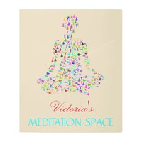 Colorful Meditation Space Custom Name Metal Print