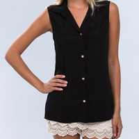 Black Sleeveless Button Up Top